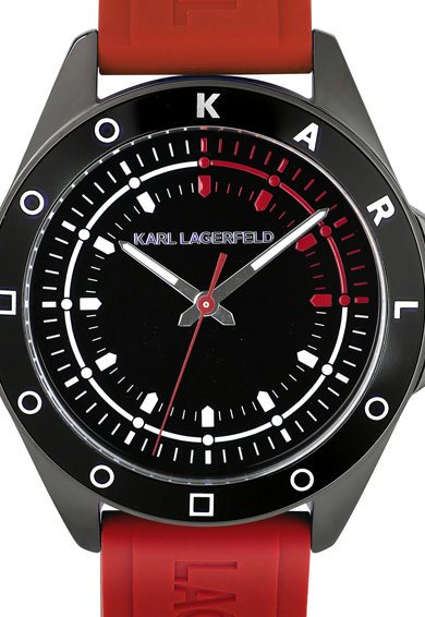 Karl Lagerfeld Szilikonszíjas analóg karóra férfi
