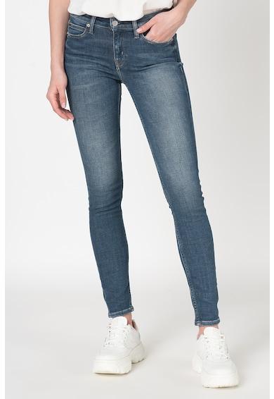 Calvin Klein Jeans Blugi skinny cu talie medie si aspect decolorat Femei