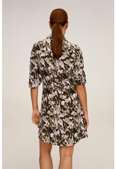 Mango Къса рокля с флорална шарка и яка Жени