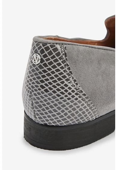 NEXT Pantofi loafer de piele intoarsa cu insertii cu aspect de piele de sarpe Femei