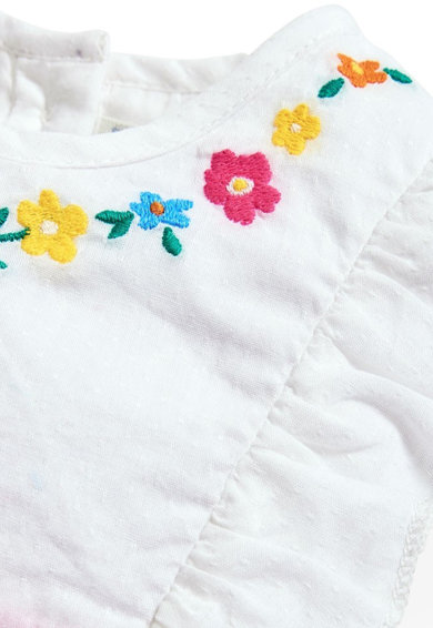 JoJo Maman Bebe Rochie cu model floral si insertii cu volane Fete