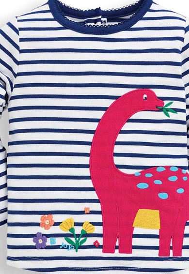 JoJo Maman Bebe Bluza cu model in dungi si aplicatie dinozaur Fete