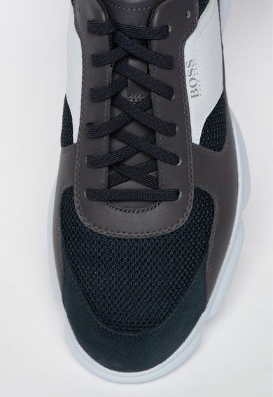 Boss Pantofi sport cu model colorblock si garnitura de piele intoarsa Rapid Barbati