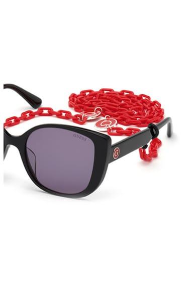 Guess Квадратни слънчеви очила Cat-Eye с верижка Жени