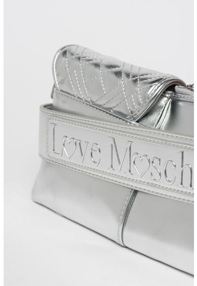 Love Moschino Geanta din piele ecologica, cu bareta de umar si aspect metalizat Femei