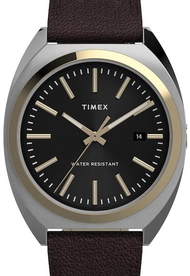 Timex Ceas din otel inoxidabil cu o curea de piele Barbati