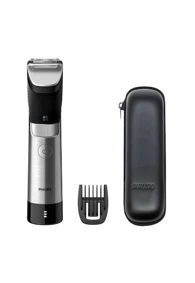 Philips Aparat de tuns barba  Prestige BT9810/15, 30 de setari, 0.4-10 mm, tehnologie SteelPrecision, lame 100% metal, senzor PowerAdapt, rezistent la apa, toc de transport, Negru/Metalic Barbati