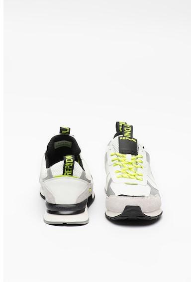 Replay Pantofi sport de piele ecologica, cu insertii de piele intoarsa Spliced Barbati