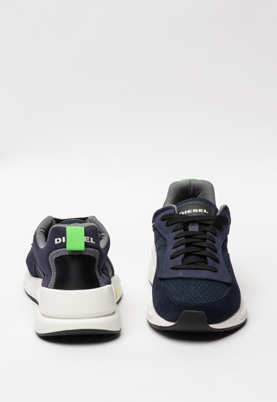 Diesel Pantofi sport de piele intoarsa ecologica, cu insertii de plasa Serendipity Barbati