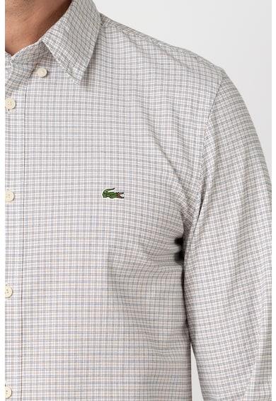 Lacoste Szűk fazonú kockás ing logóhímzéssel férfi