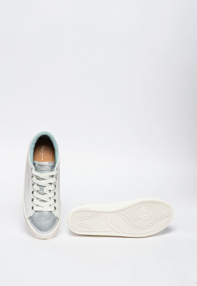 Pepe Jeans London Pantofi sport de piele, cu garnitura metalizata Kioto One Femei