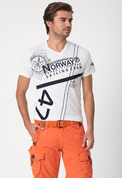 Geographical Norway Tricou cu decolteu in V si diverse imprimeuri Jilly Barbati