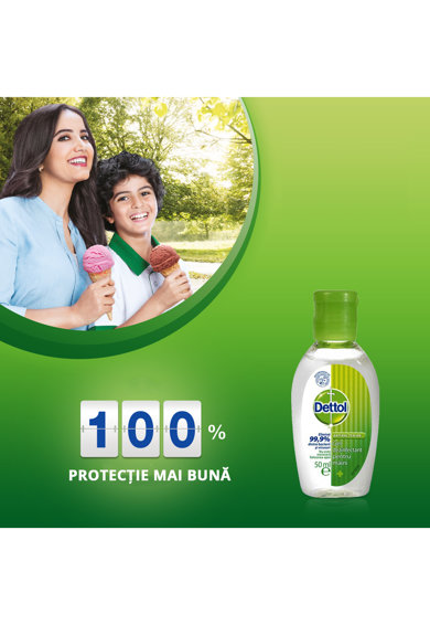 Dettol Gel dezinfectant pentru maini  cu 70% alcool, efect antibacterian, 50 ml Femei
