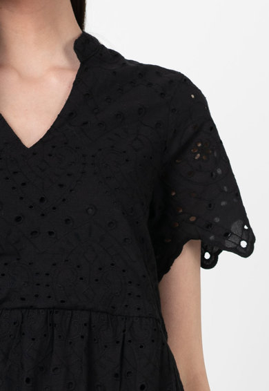 Vero Moda Rochie mini din bumbac organic, cu perforatii Norah Femei
