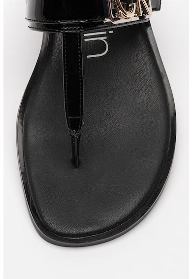 CALVIN KLEIN Papuci cu bareta separatoare si aspect lacuit Tamura Femei