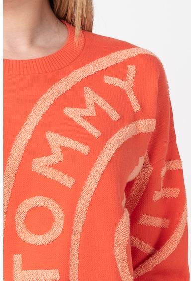Tommy Hilfiger Finomkötött organikuspamut pulóver logóval női