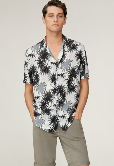 Mango Риза Soja с тропически десен Мъже