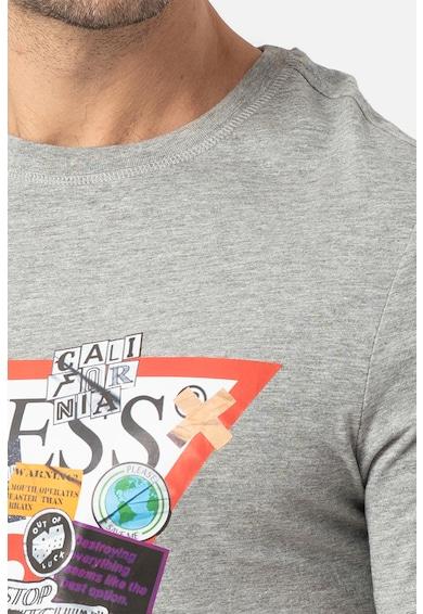 GUESS JEANS Kerek nyakú logómintás póló felirattal férfi