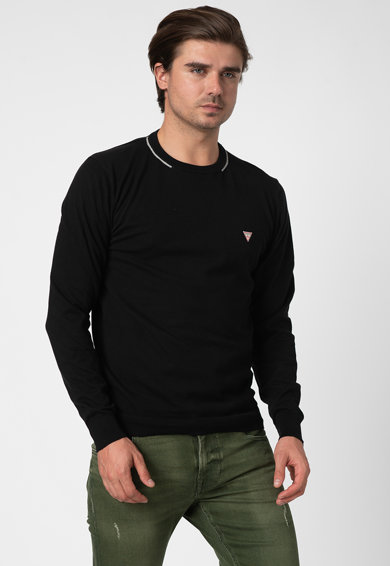 GUESS JEANS Pulover slim fit din tricot fin cu aplicatie logo Barbati