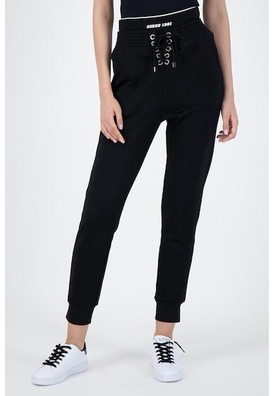 GUESS JEANS Pantaloni sport cu talie inalta si snur in talie Femei