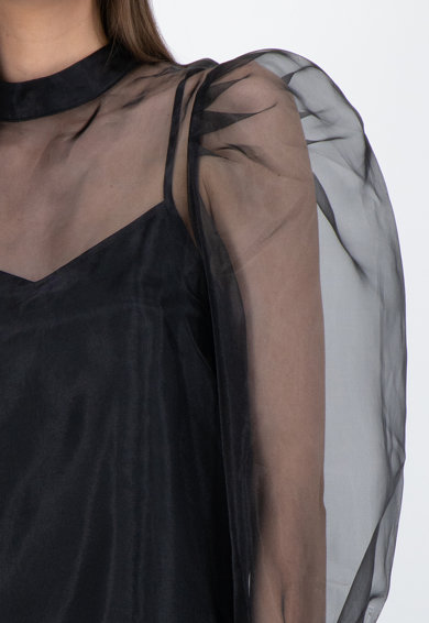 GUESS JEANS Bluza semi-transparenta cu maneci bufante Femei