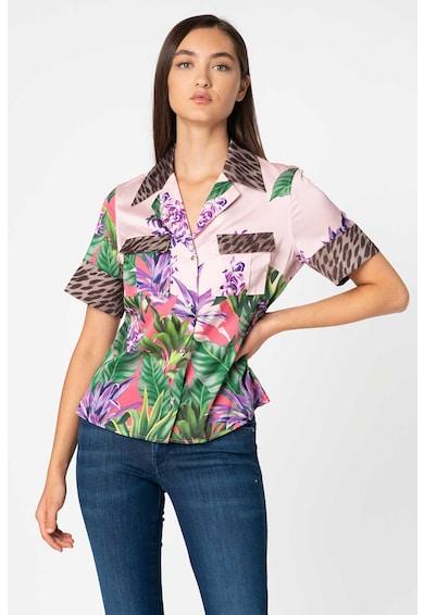 GUESS JEANS Camasa cu animal print si imprimeu tropical Femei