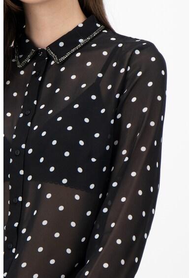 GUESS JEANS Полупрозрачна риза с остра яка Жени