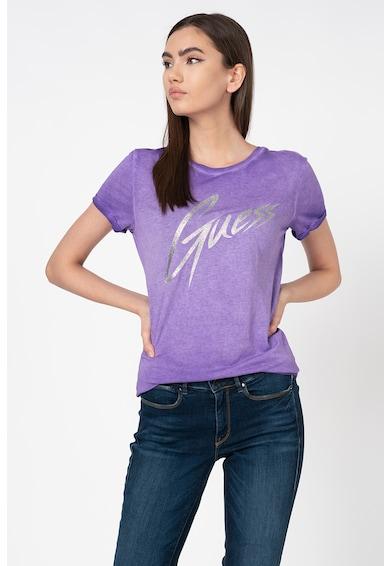 GUESS JEANS Tricou din amestec de modal cu logo metalizat Femei
