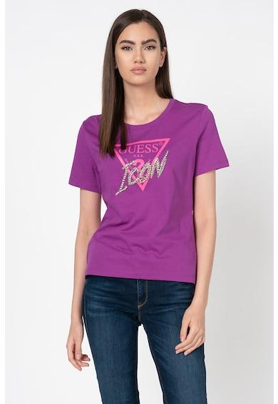 GUESS JEANS Tricou cu imprimeu logo si aplicatii cu strasuri Femei