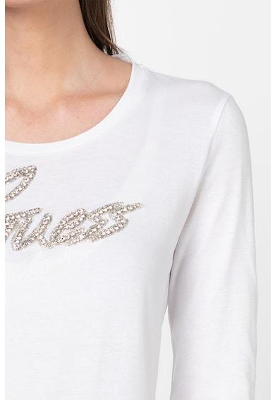 GUESS JEANS Bluza cu imprimeu logo si aplicatii cu strasuri Femei
