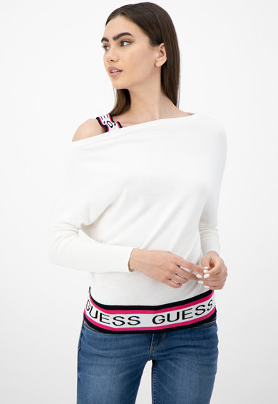GUESS JEANS Пуловер с голо рамо и лого Жени
