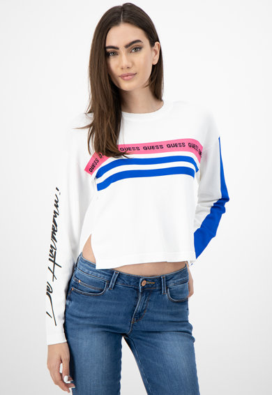 GUESS JEANS Къс фино плетен пуловер с лого Жени