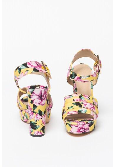 Guess Sandale cu imprimeu floral si toc masiv Femei
