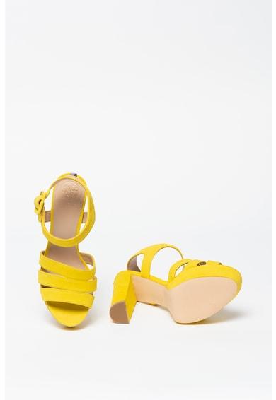 Guess Sandale din piele nabuc cu toc masiv Femei