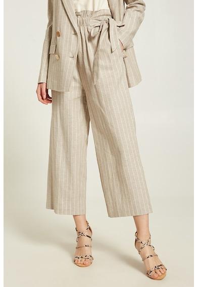 Motivi Pantaloni crop cu croiala ampla, din amestec de in Femei