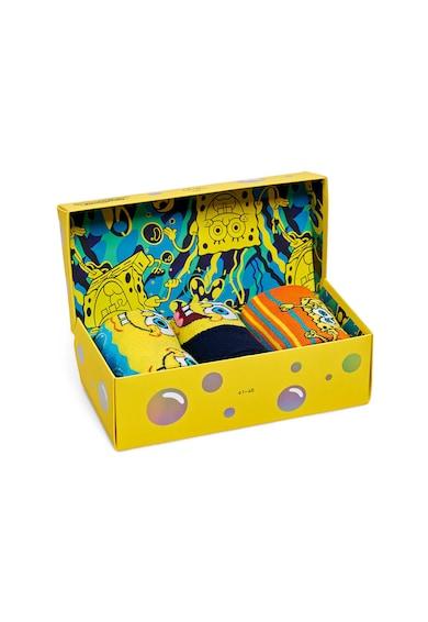 Happy Socks Set de sosete unisex lungi Sponge Bob - 3 perechi Femei