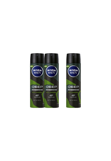 Nivea Men Deodorant spray  Deep Amazonia, 3 x 150 ml Barbati