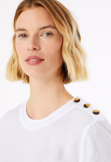 Marks & Spencer Bluza de in cu maneca scurta si nasturi decorativi Femei