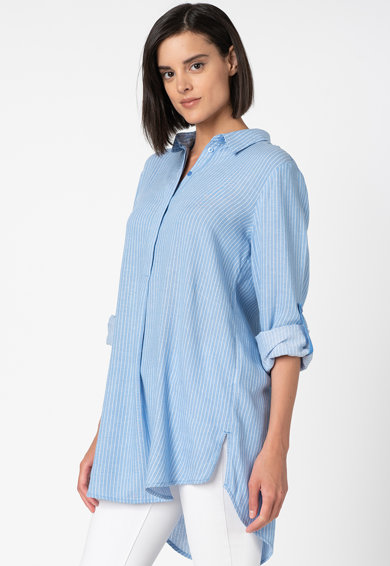Tom Tailor Bluza asimetrica din amestec de in cu imprimeu in dungi Femei