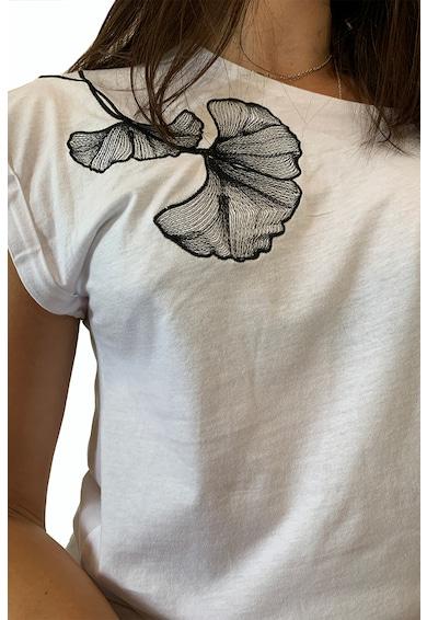 LIN APPAREL Póló hímzett virágos rátéttel női