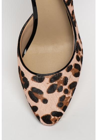 Guess Pantofi de piele cu par scurt, cu varf ascutit si animal print Femei