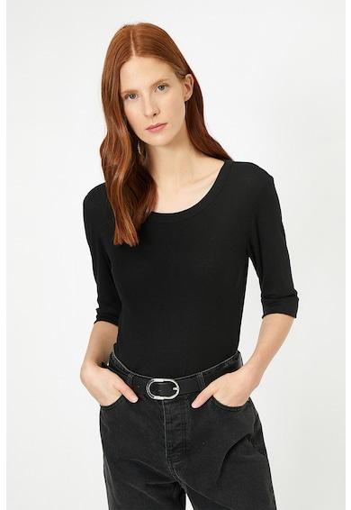 KOTON Bluza cu maneci medii si aspect striat Femei