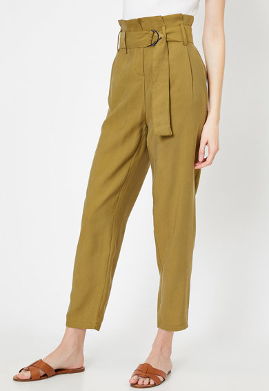 KOTON Pantaloni din amestec de lyocell, cu talie inalta Femei