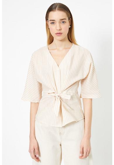 KOTON Bluza din amestec de in, cu decolteu in V si model cu dungi Femei