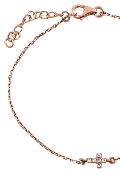 OXETTE Bratara din argint 925 placata cu aur rose de 18K si cu un talisman Femei