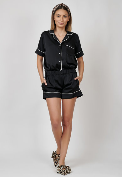 Nighters Pijama cu insertii contrastante Femei