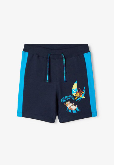 NAME IT Pantaloni scurti cu snur in talie si benzi laterale contrastante Baieti