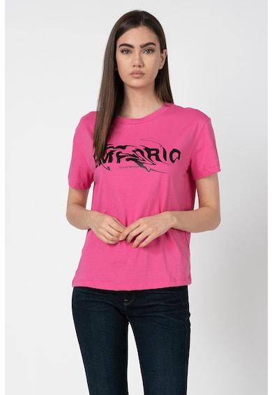 Emporio Armani Tricou cu decolteu la baza gatului si imprimeu logo Femei
