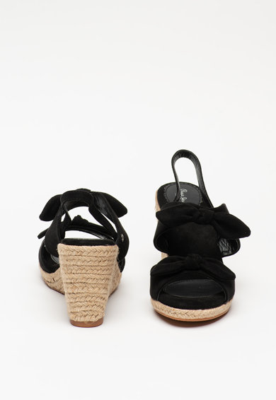 Pepe Jeans London Sandale wedge tip espadrile de piele intoarsa ecologica Shark Honey Femei