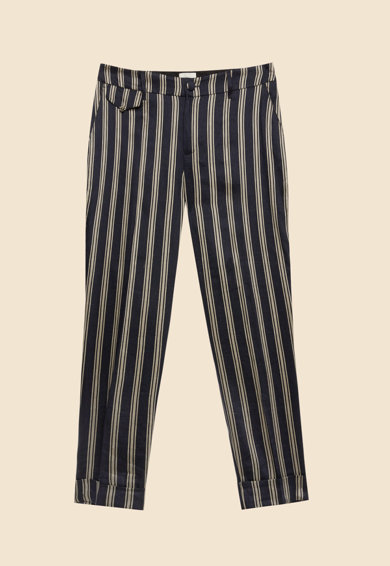 Oltre Pantaloni din amestec de in, cu model in dungi Femei
